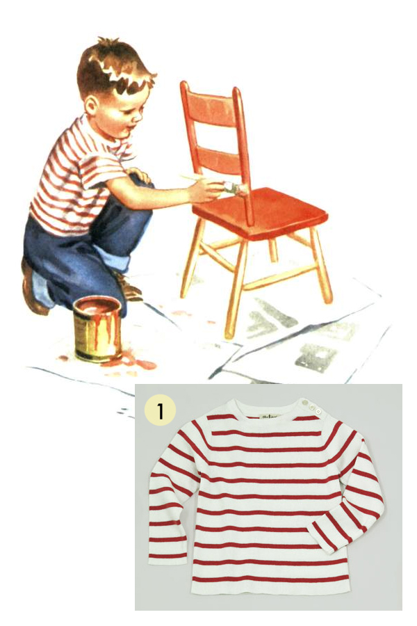 Image from Dick and Jane: We Work; Red Striped Sweater Tee from Olive Juice