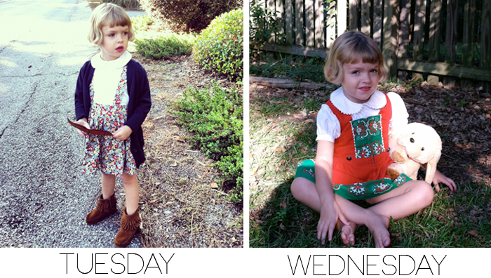 Tuesday and Wednesday's outfits as seen on Lil' Stylekins Feature on the Babiekins Magazine Blog - Girl is Poppy from Instagram's AllieRoyall