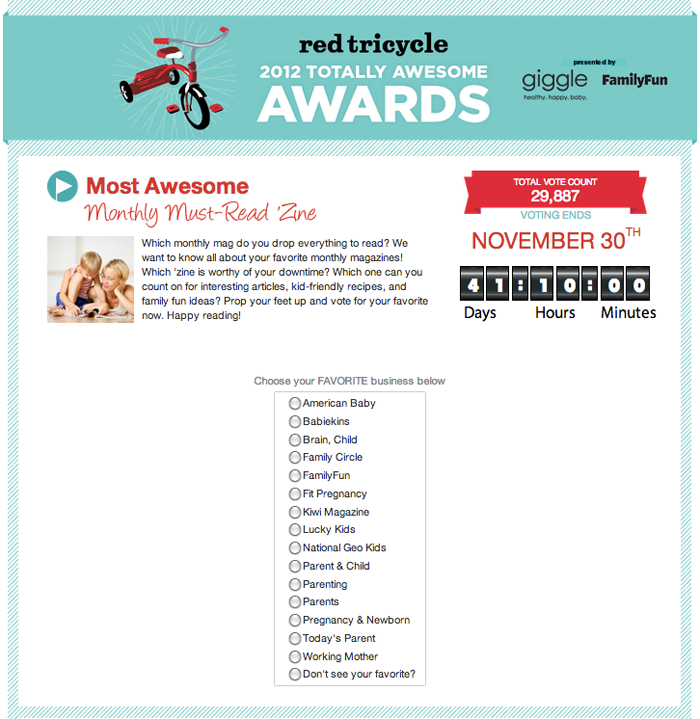 Vote for BABIEKINS MAGAZINE in the 2012 Totally Awesome Awards on Red Tricycle