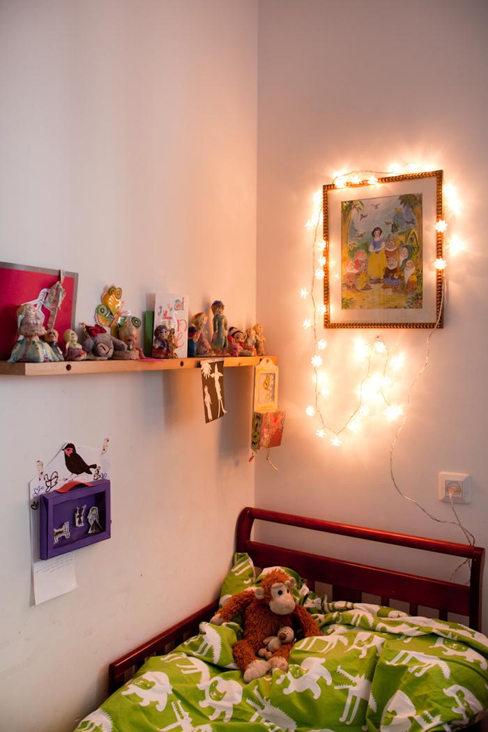 Corner of Alma and Nogah's bedroom in Jerusalem, featured on the Sleepykins home decor interior design series on the Babiekins Magazine blog