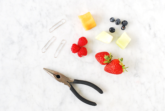 Craftykins // DIY Paper Clip Fruit Skewers