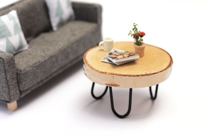 Babiekins Magazine|Craftykins // DIY Miniature Mid-Century Modern Dollhouse Coffee Table