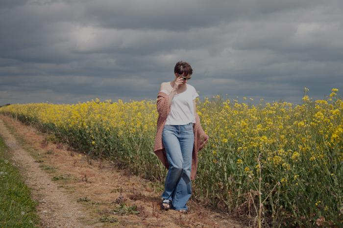 Babiekins Magazine_Momkins_One Look 3 Ways_Flares_Oil Seed Fields Stormy Sky
