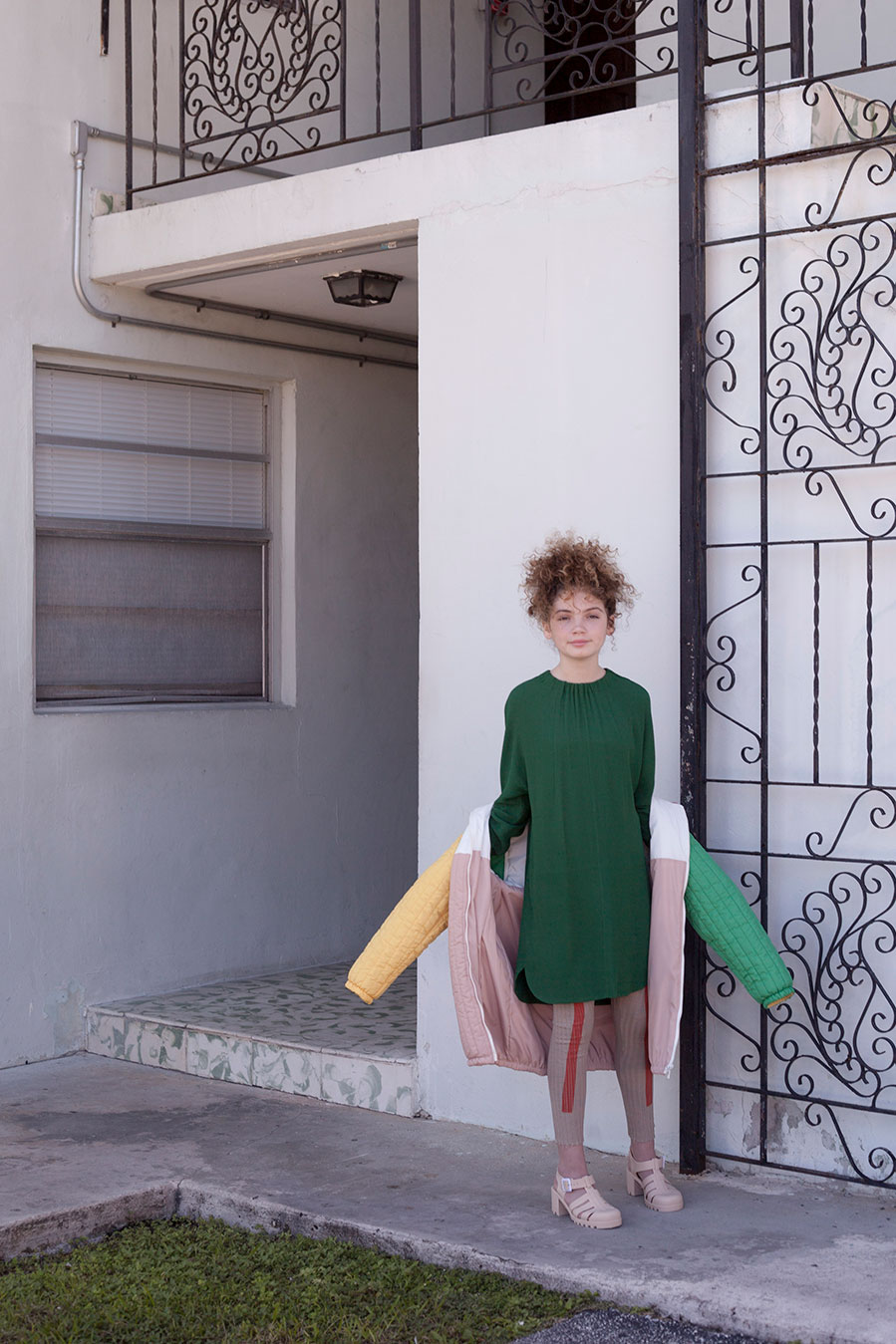 Stella wears Marni dress & Bobo Choses coat and leggings from Ladida.